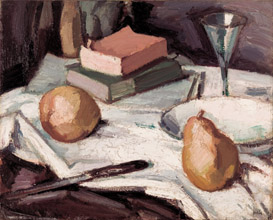 Still life with pears and wineglass