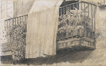 Balcony with Flowers and Curtain