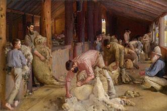 Tom Roberts Shearing the rams