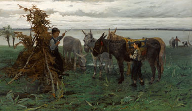 Willem Maris Boys herding donkeys