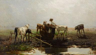 Willem Maris Calves at a trough