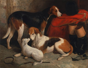 William Barraud A Couple of Foxhounds with a Terrier the property of Lord Henry Bentinck