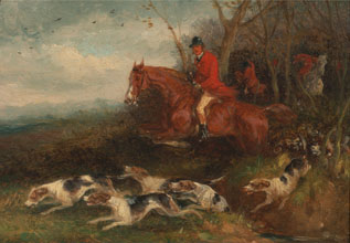 William J Shayer Foxhunting Breaking Cover
