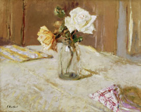 Edouard Vuillard Roses in a Glass Vase