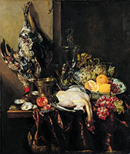 Abraham Hendricksz van Beyeren Pronkstilleven with Fruit and Fowl