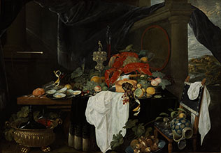 Andries Benedetti A Pronk Still Life with Fruit Oyters and Lobsters