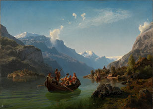 Adolph Tidemand Hans Gude Bridal Procession on the Hardangerfjord
